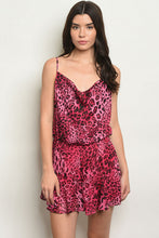 Load image into Gallery viewer, Fuchsia Animal Print Romper