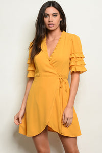Mustard Wrap Around Dress