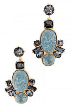 Load image into Gallery viewer, Gray Druzy Stone Earrings