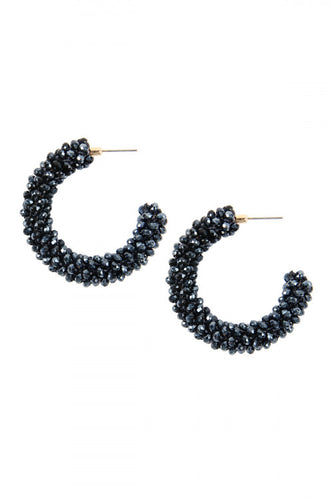 Hematite Glass Beads Hoops