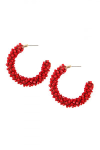 RED GLASS BEADS  HOOPS