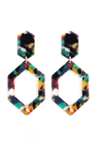 Acetate Multicolor Hexagon Earrings