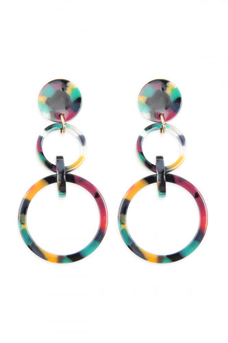 Multicolor Acetate Link Hoops Earrings