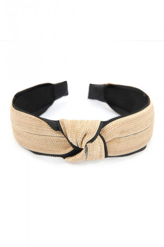 BLACK KNOTTED LACED FABRIC HEADBAND