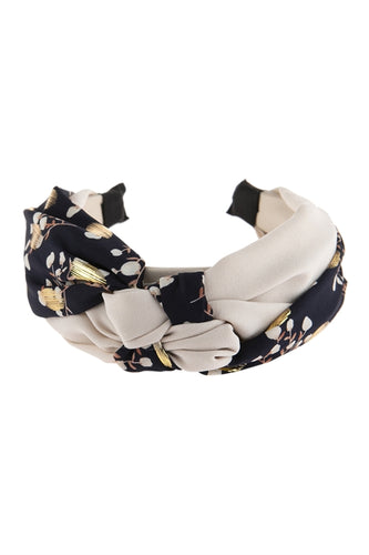 Navy and Flowers Headband