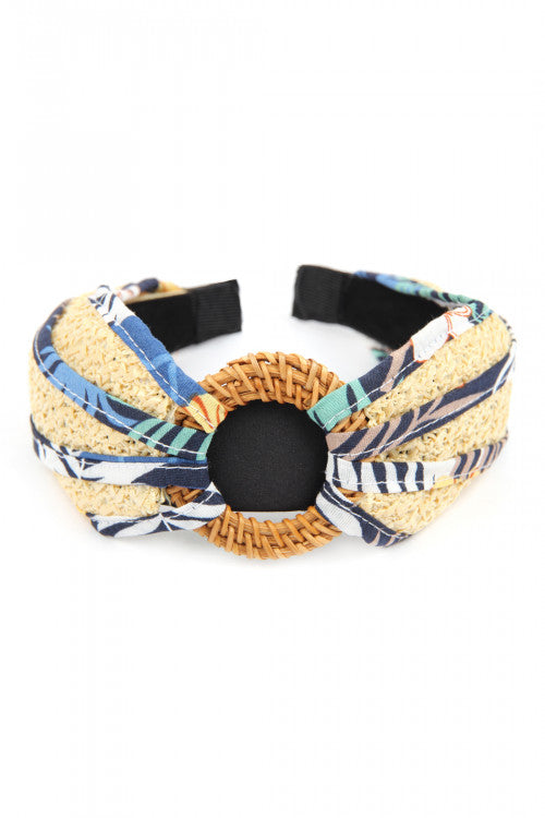 BLUE KNOTTED RAFFIA WITH FABRIC HEADBAND