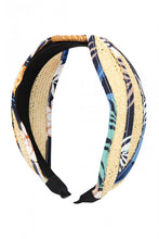 Load image into Gallery viewer, BLUE KNOTTED RAFFIA WITH FABRIC HEADBAND