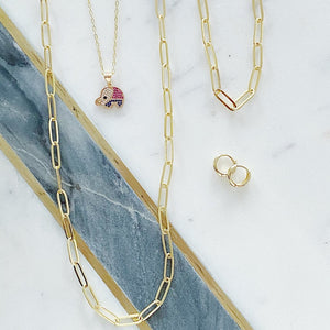 Large Thin Oval Link Necklace