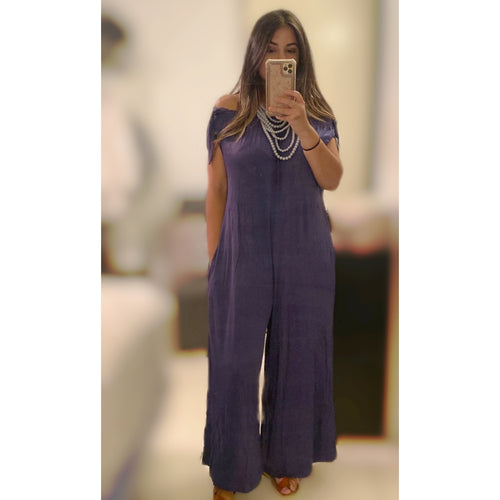 Indigo Off Shoulder Jumpsuit