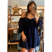 Load image into Gallery viewer, Navy Off Shoulder Dress