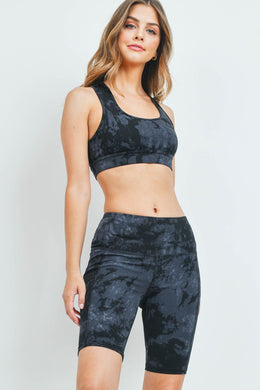 BLACK TIE DYE TOP & SHORT SET