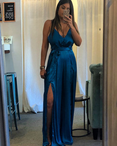 Satin Teal Jumpsuit
