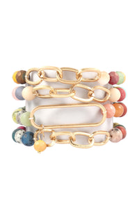 Multicolored Chain Beaded Bracelet Set