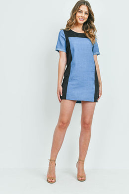Black and Blue Denim Dress