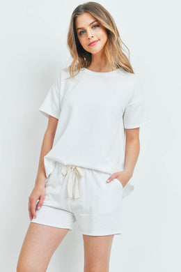 FLEECED FRENCH TERRY TOP AND SHORTS SET