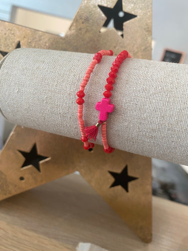 Pink and Red Bracelet Duo