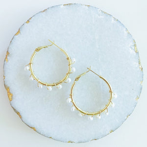 Fresh Water Pearls Medium Hoops