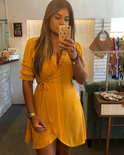 Load image into Gallery viewer, Mustard Wrap Around Dress