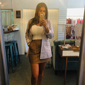Brown Pleather Skirt