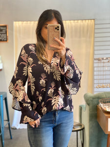 Navy and Leaves Top