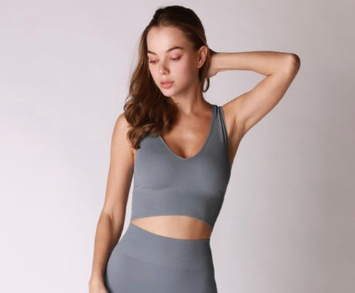 Seamless Crop Top (Blue Stone)