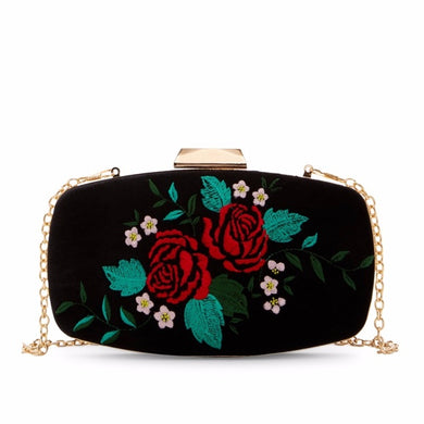 Velvet Embroidery Clutch