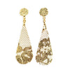 Lee earrings, 1920s French lace dipped in 24k gold, feather light