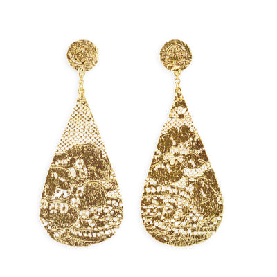 Leopoldine earrings, Beyoncé wore on The Mrs. Carter World Tour, Lace earrings dipped in 24k gold, Large drop earrings