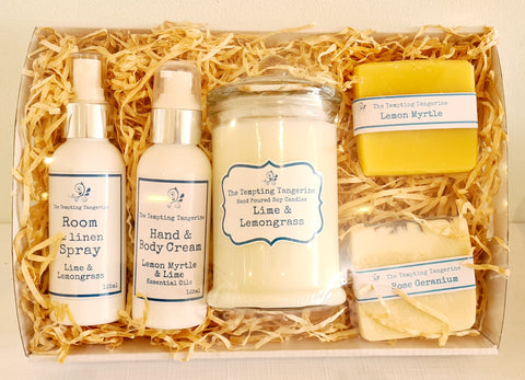 Candle, 2 soaps, room spray & hand cream hamper