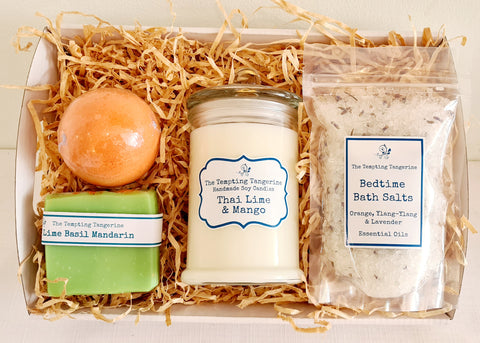 Candle, soap bath bomb & salts hamper