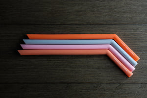 "The Horizon - Four 9.5"" Angled Silicone Drinking Straws with Cleaning Brush"