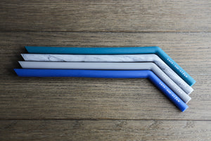 "The Forester - Four 9.5"" Angled Silicone Drinking Straws with Cleaning Brush"