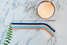 "Load image into Gallery viewer, Beach Front Skinny - Four Slim 9.5"" Angled Silicone Drinking Straws with Cleaning Brush"