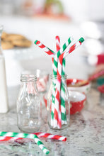 "Load image into Gallery viewer, The North Pole Limited Edition-Four 9.5"" Angled Silicone Drinking Straws with Cleaning Brush"