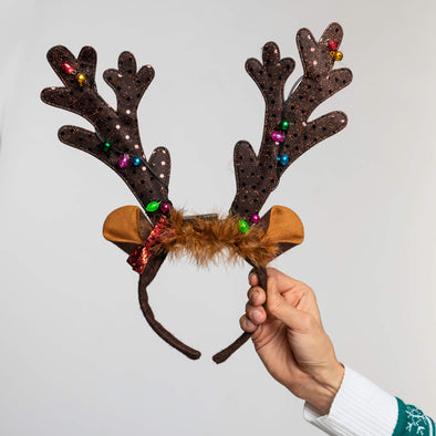 Flashing Dark Brown Reindeer Antlers (LED) Accessories SillySanta