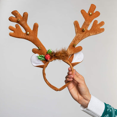Flashing Light Brown Reindeer Antlers (LED) Accessories SillySanta
