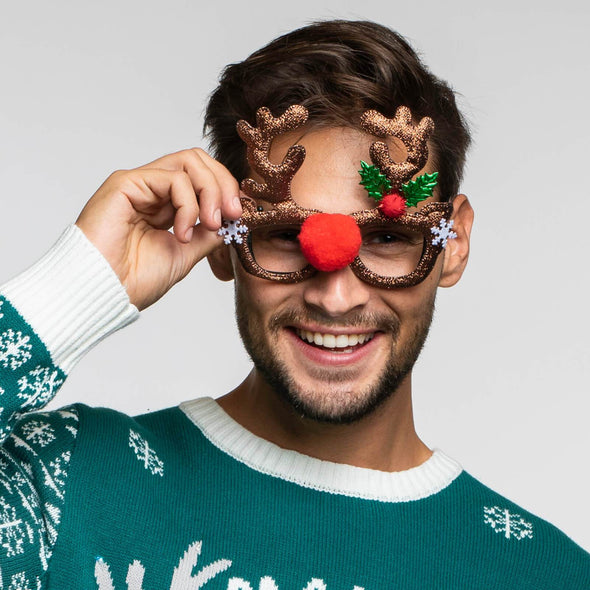 Shiny Reindeer Glasses Accessories SillySanta