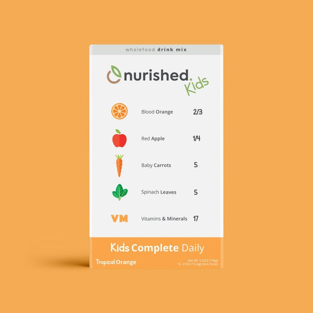 Nurished Kids Complete Daily Whole food Multivitamin Drink Mix - Made from Blood Orange, Apple, Carrots, Spinach, and with 17 essential vitamins and minerals - natural, clean, and whole food nutrients