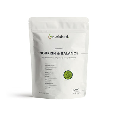 Nourish & Balance Raw Superfood Greens Powder by Nurished - Made from real ingredients and nothing artificial. Vegan Non-GMO Greens Smoothie Ingredient