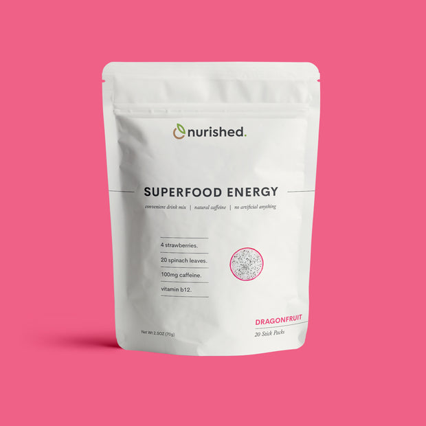 Superfood Energy by Nurished- Dragonfruit Flavor - 100mg Clean Caffeine, Spinach Leaves, Strawberry - Nothing Artificial Vegan Non-GMO