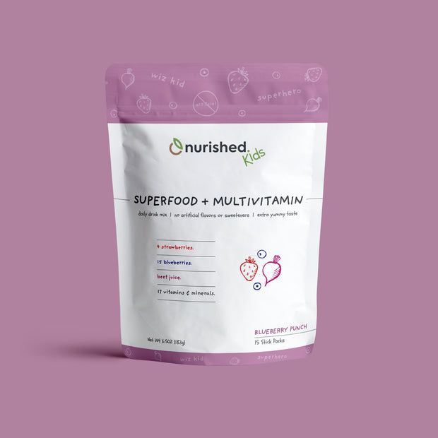 Nurished Kids Superfood + Multivitamin Drink Mix - Made from Strawberries Beet Juice Blueberries and with 17 essential vitamins and minerals - Natural, Clean, and Made with Nothing artificial - Whole food health