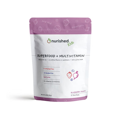 Nurished Kids Superfood + Multivitamin Drink Mix - Made from Strawberries Beet Juice Blueberries and with 17 essential vitamins and minerals - Natural Clean and Made from Whole Foods