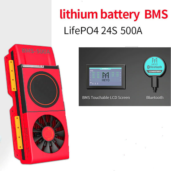 Lifepo4 smart BMS 24S 72V 500A with cooling fan - Bluetooth - CAN - 485