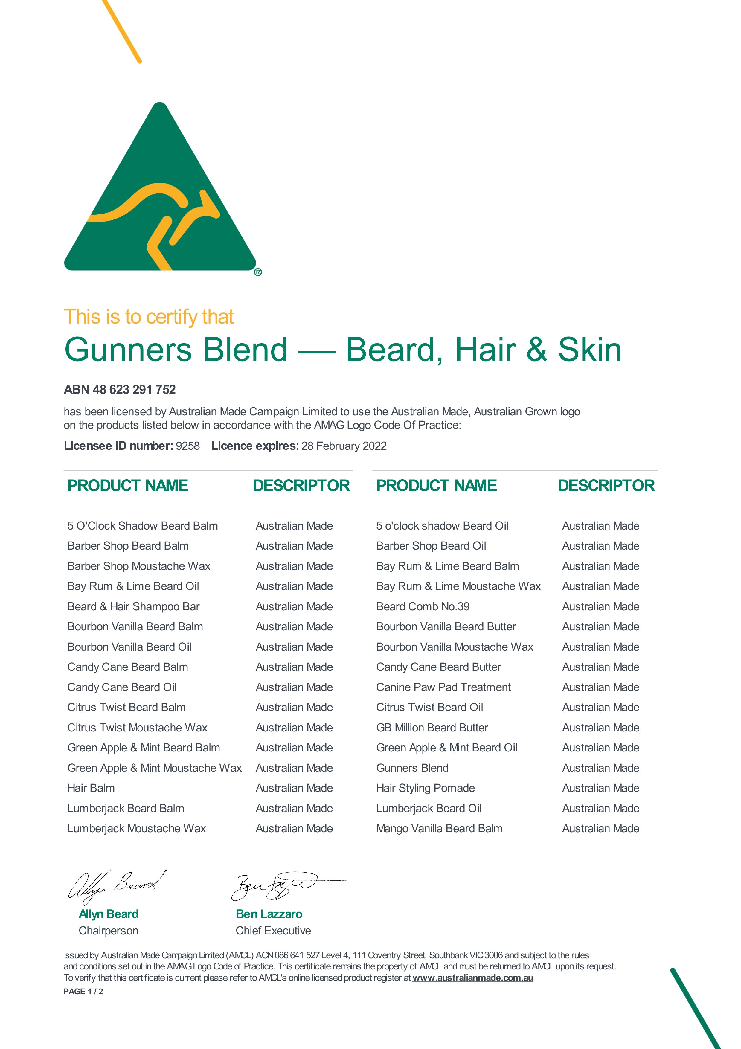 Gunners Blend Australian Made and Owned Beard, Hair and Skin Products