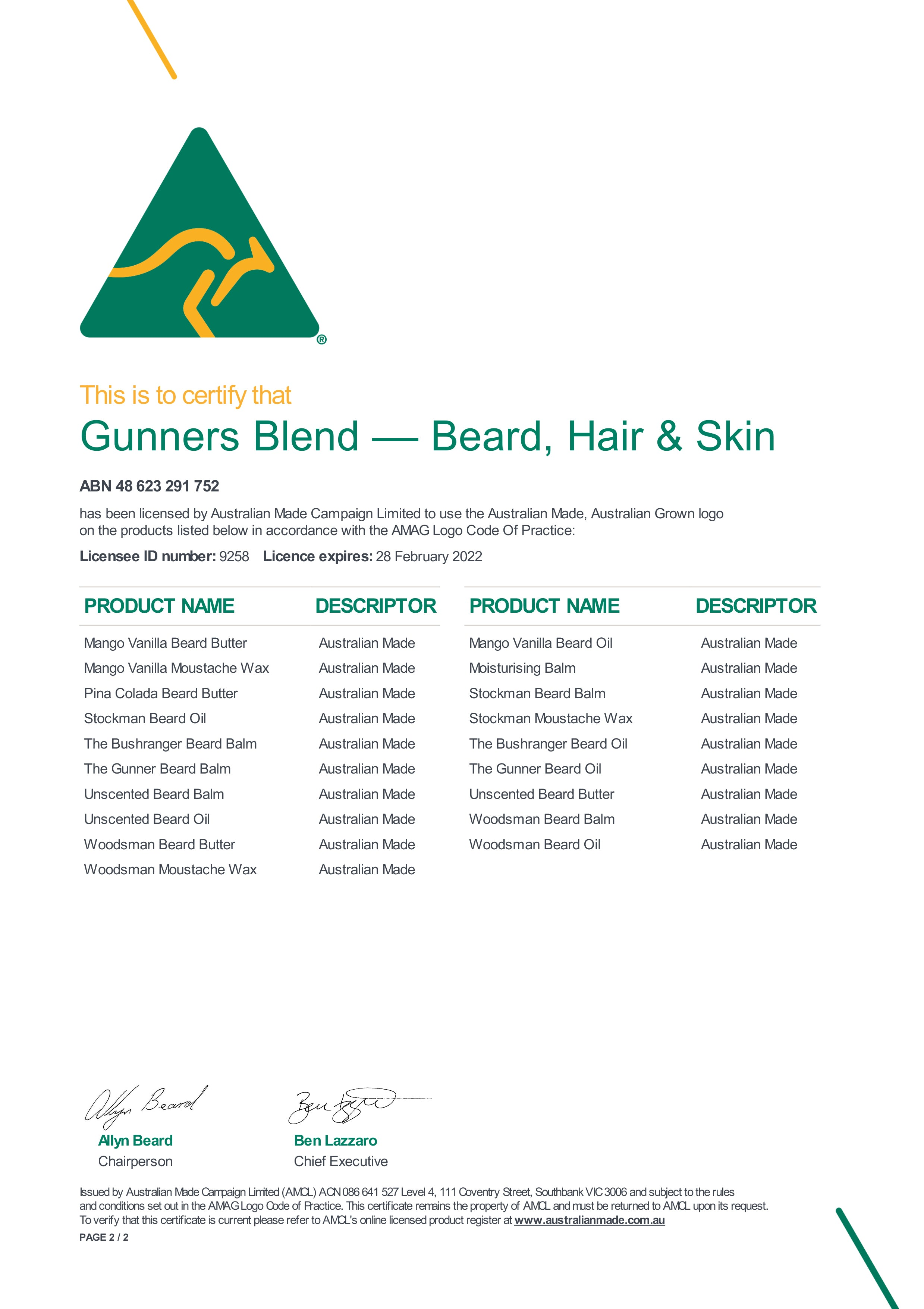 Gunners Blend Beard Hair And Skin - Australian Made and Owned Certificate