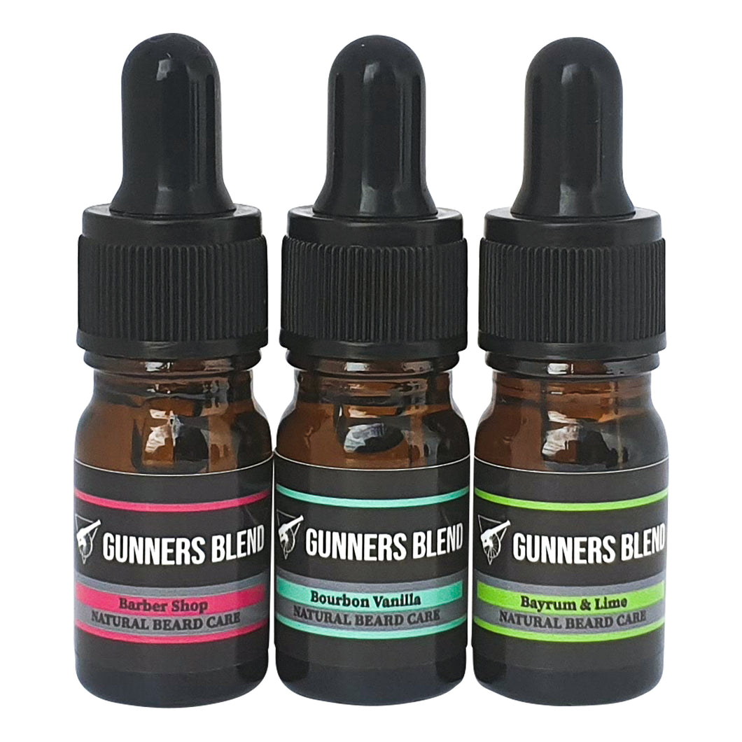 5ml Traditional Scents Beard Oil 3 pack Sample Set - Gunners Blend