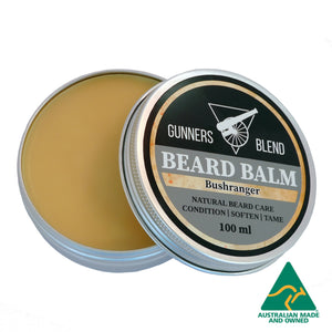 Gunners Blend Bushranger Beard Balm opened, Australian Made Beard Balm. 100ml tin