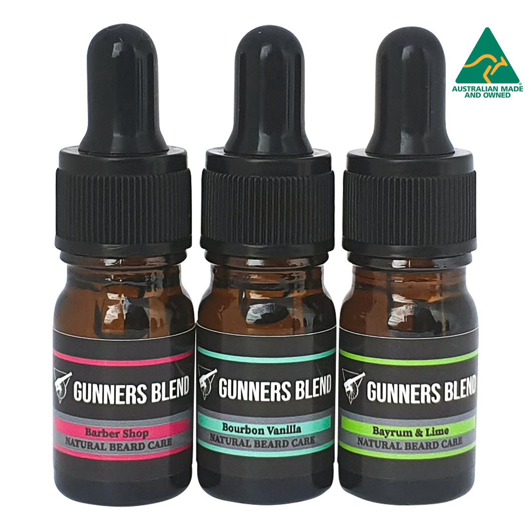 Traditional Scent Beard Oil 5ml Sample Pack Gunners Blend Australian Made