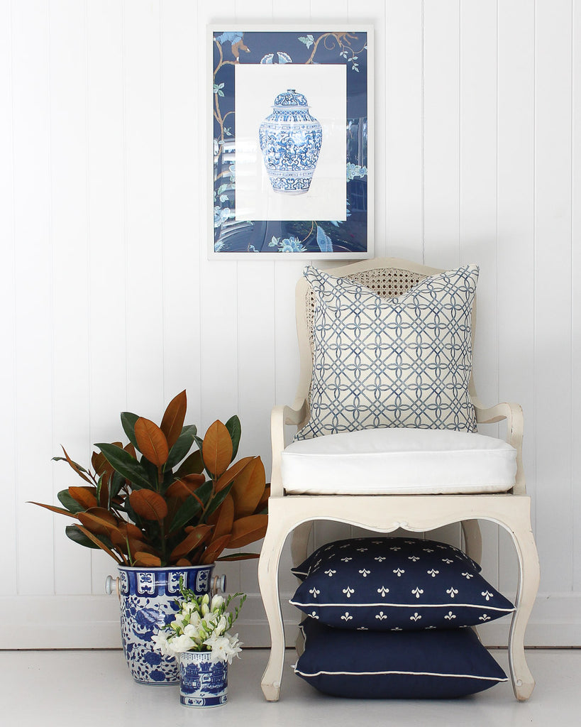 Greek Gate Rustic Blue Cushion