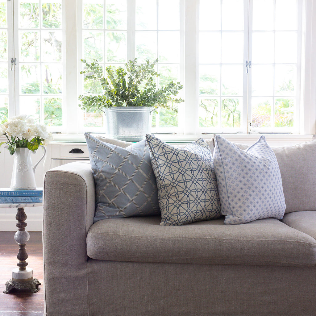 Pale blue custom cushion collection